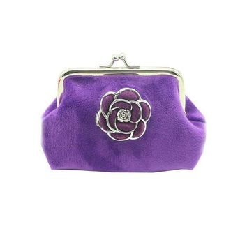 ICIKU7Q Women Wallets Lady Flannel Retro Vintage Flower Small Wallet Hasp Purse Clutch Bag #LREW