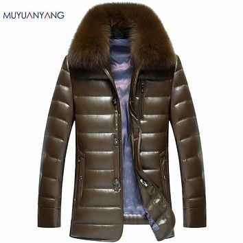 Mu Yuan Yang Men's Clothing 2017 Winter Warm Mens Down Coat With Fur Collar 50% Off Men White Duck Down Jacket Thicken Overcoat