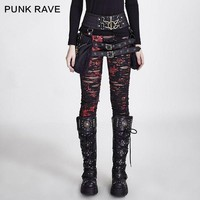 DCCKU62 Punk Rave womens Gothic Stretchy Skinny Black Leggings ripped Steampunk S-XXL