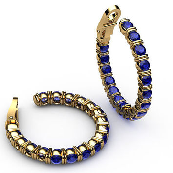 """Hoop Earrings Blue Sapphire 18K Yellow Gold or 18K White Gold 19.50 Grams 1.1/8"""" Inches Mothers Day Gift, Anniversary"""
