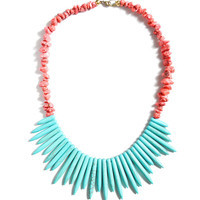 Turquoise Spike Bib with Pink Nuggets Necklace