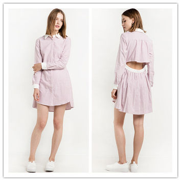 Fashion Casual Female Backless Hollow Loose Stripe Pleated Polo Collar Long Sleeve Shirt Style Mini Dress