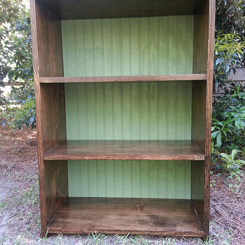 Rustic Decor Wood Bookcase With Bead Board