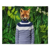 "Natt ""Into The Leaves N7"" Green Fox Fleece Throw Blanket"