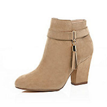 Light brown tassel trim ankle boots