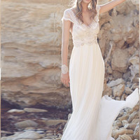 Joky Quaon 2016 Fantasy Boho Wedding Dress Bohemian With Glove Beading Crystal Deep V Neck Beach Vestidos De Novia Para Playa