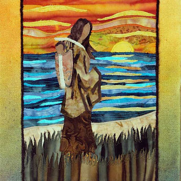 Native American Mother and Child, Cradleboard, Papoose, art quilt on canvas, home decor