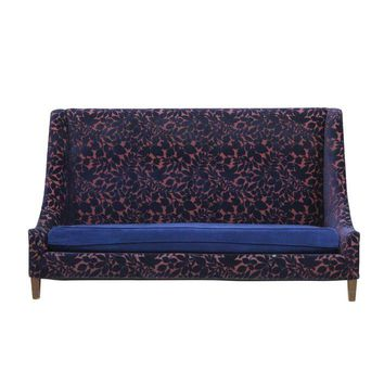 Pre-owned Navy and Pink High Back Sofa