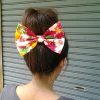 SUMMER COLLECTION RED FLORAL OVERSIZE BOW HAIR CLIP