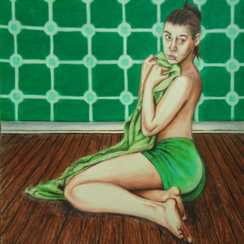 Lime Green - Colored pencil drawing - Green Artwork - Original artwork - Home decor - Wall decor - Erotic art - Green art - Wall hanging