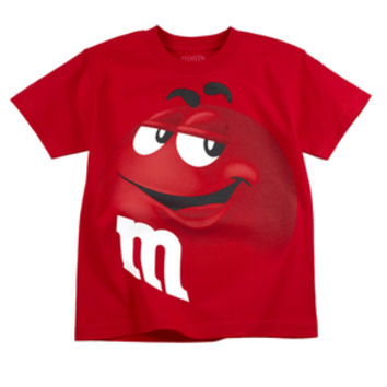 M&M's Candy Character Face T-Shirt - Adult - Red - Small