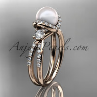 14kt rose gold diamond pearl unique engagement ring, wedding ring AP146