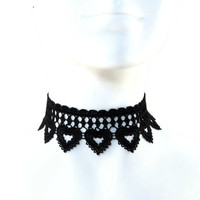 Black Hearts Lace Choker Necklace - Chocker, Romantic, Lingerie Accessory, Love, Jewelry, Women, Sexy, Handmade, Lolita, Boudoir