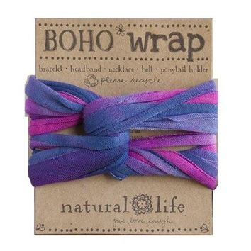 Natural Life Boho Wrap Tie Dye Headband, Pink/Blue/White