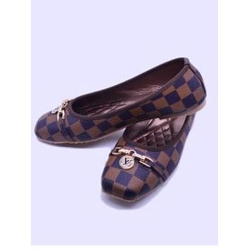 LV Shoes Coffee Louis Vuitton  Fashion Women  Comfort flat shoes