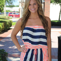 Take Me On Vacation Romper - Navy/Peach