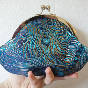 Small framed blue peacock clutch purse wristlet, peacock feather pattern, personalized initial