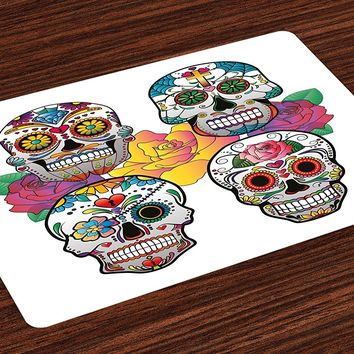 Sugar Skull Place Mats Different Types of Skulls Rich and Colorful Ornaments Roses