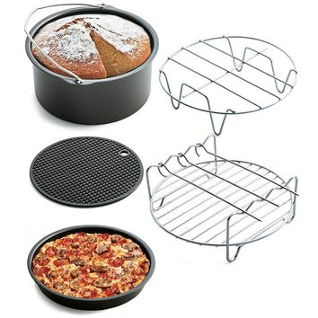 Air Frying Pan Accessories 5pcs Fryer Baking Basket Pizza Plate Grill Pot Mat Baking Set Cooking Tools