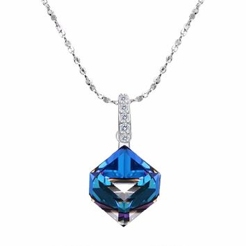 Bella Fashion 925 Sterling Silver Sparkling Cube Bridal Necklace Austrian Crystal Pendant Necklace For Wedding Party Jewelry