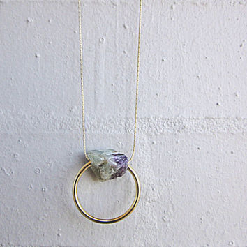 NL-234 Purple Green Natural Fluorite with 3/4 Circle Gold Plated Curved Tube Pendant in 16K Gold Plated Brass Chain