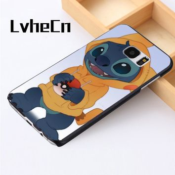 LvheCn phone case cover For Samsung Galaxy S3 S4 S5 mini S6 S7 S8 edge plus Note2 3 4 5 7 8 s Lilo Stitch PikachuKawaii Pokemon go  AT_89_9