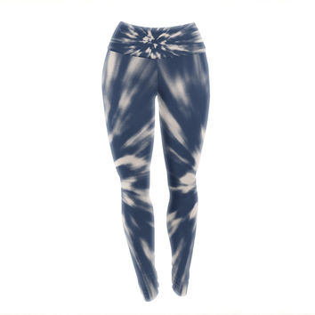 "Nika Martinez ""Indigo Tie Dye"" Blue Urban Yoga Leggings"
