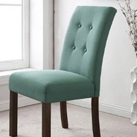 HomePop Modern 4-button Tufted Aqua Blue Upholstered Parson Dining Room Chairs (Set of 2)