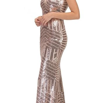 CLEARANCE - Floor Length Sequin Prom Dress V-Neck with Sheer Inset Rose Gold (Size Small)