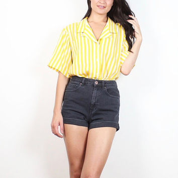 Vintage 80s Blouse Yellow White Vertical Striped Collared Shirt 1980s New Wave Secretary Blouse Anne Klein Mod Uniform Top S Small M Medium