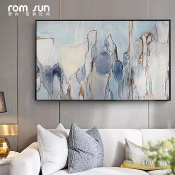 Abstract Canvas Painting Grey Blue Flowing Color Poster Print Wall Art Picture For Living Room Bedroom Dinning Room Unique Decor