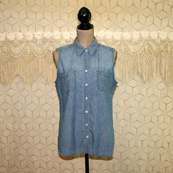 Womens Sleeveless Denim Shirt Button Up Blouse Casual Summer Top Large XL Women Shirt Sleeveless Top Chicos Vintage Clothing Womens Clothing