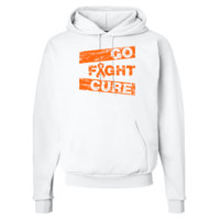 Leukemia Go Fight Cure White Mens Hooded Sweatshirt | Awareness Ribbon Colors T-Shirts and Gifts