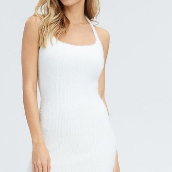 Snowball Mini Sweater Dress in White