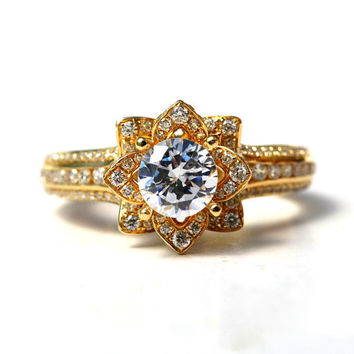 UNIQUE Flower Rose Diamond Engagement or Right Hand Ring - 2.00carat - 14K yellow gold - 14k White gold - 14K rose gold - wedding - fL01YG