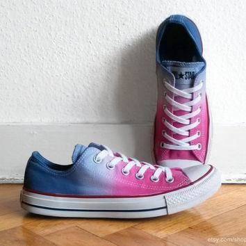 hot pink ocean blue ombre converse all stars dip dye upcycled sneakers chucks eu