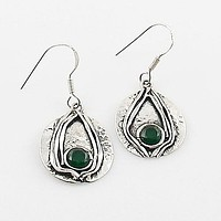 Emerald Sterling Silver Wrapped Earrings