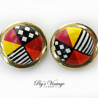 Vintage Retro 60s Round Button Earrings, Colorful Large Clip On Earrings