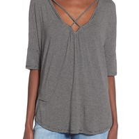 Lush Cross Front Oversize Tee | Nordstrom