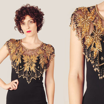 80s does 20s Flapper Embellished Capelet / Golden & Black Floral Victorian Beaded Sequin Cape Shawl / Mesh Sheer Mantle Scarf Collar