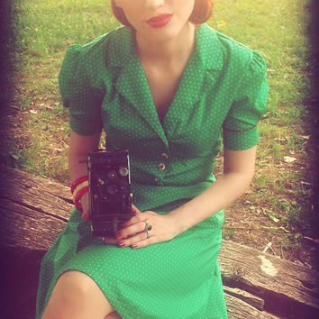 40s Style Swing Tea Dress Green Polka Dot Vintage Inspired  by BlancheOfArts