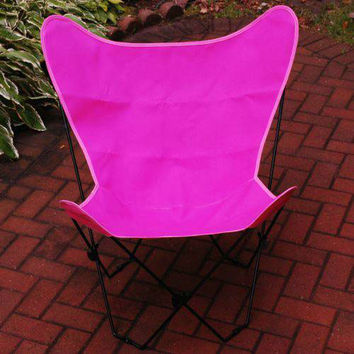 Algoma Net Company 405359 Black Butterfly Chair with Pink Cover