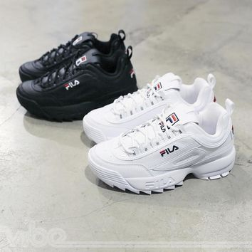 "FILA Disruptor II 2 Running SHoes ""Black White"" Men Women Sneaker FW0165-016"