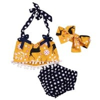 Deer and Dots Sleeveless Summer Tassel Crop Top Vest +Shorts+Headband 3pc set