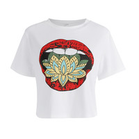 The new trend of lips short sleeves section loose [10597767559]