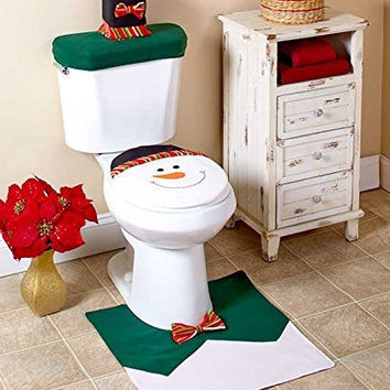 Snowman Winter Holiday Christmas 3 Pc Toilet Bathroom Set