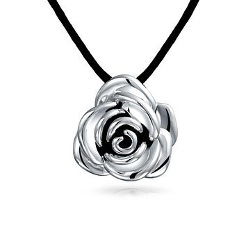 Rose Flower Pendant Necklace Black Silk Cord Sterling Silver Necklace