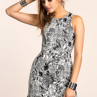 Abstract Lace Up A-line Dress