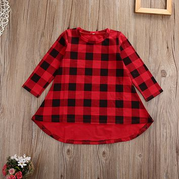 Baby Kids Girls Child Dress Checked Party  Long Sleeve Princess Formal Dresses