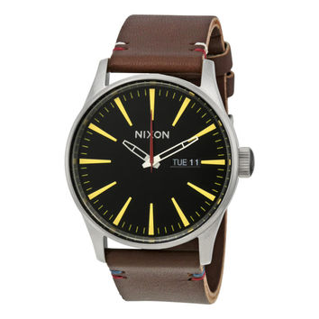 Nixon Sentry Black Dial Brown Leather Leather Mens Watch